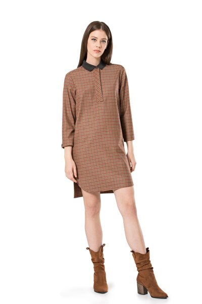 Ribana Yakalı Kutu Elbise