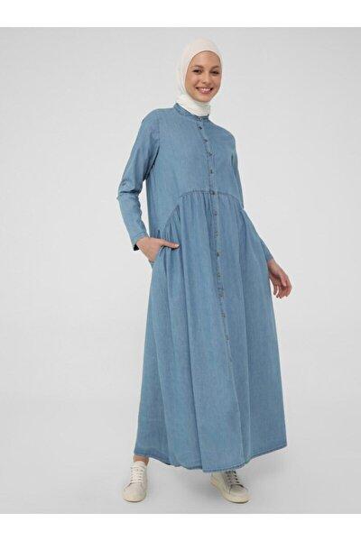 Kadın Doğal Kumaşlı Boydan Düğmeli Kot Elbise - Mavi -