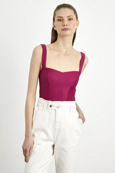 Kadın Kalın Askılı Crop Bluz