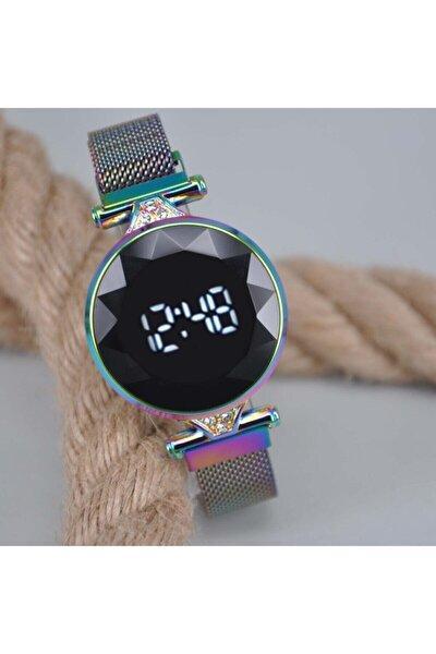 Kadın Renkli Mıknatıslı Hasır Kordonlu Yuvarlak Kol Saati Su-118