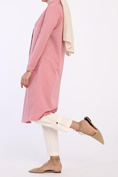 Kadın Pembe Gizli Patlı Gömlek Tunik