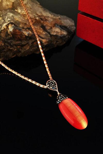 Kadın Rose Altın Kaplama Kedigözü Taşı Kolye Krb275
