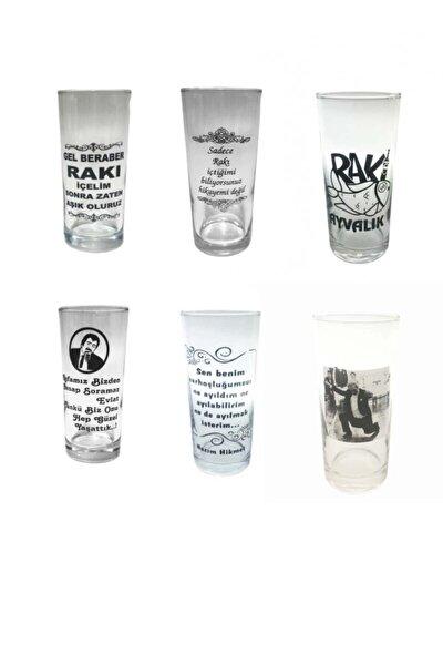 Karışık Yazılı Resimli Cam 6 Adet Rakı Bardağı