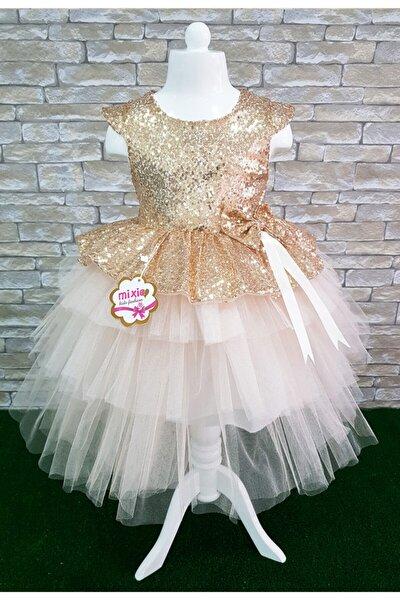 Gold Payetli Kız Çocuk Abiye Doğum Günü Özel Gün Elbise