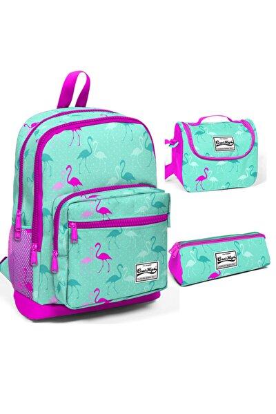 Kız Çocuk Açık Pembe Flamingolu Dört Bölmeli Ilkokul Sırt Çantası Beslenme Kalemlik Set 23111