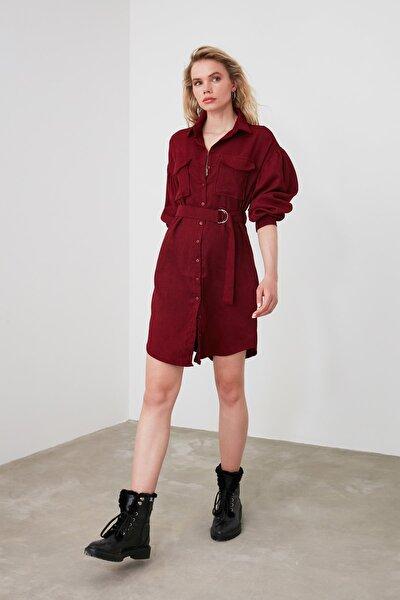Bordo Kadife Kuşaklı Elbise TWOAW20EL1159