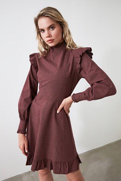 Bordo Omuz Detaylı Elbise TWOAW20EL1665