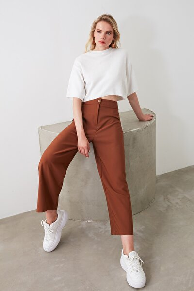 Kahverengi Bol Paça Rahat Kalıp Pantolon TWOSS20PL0090