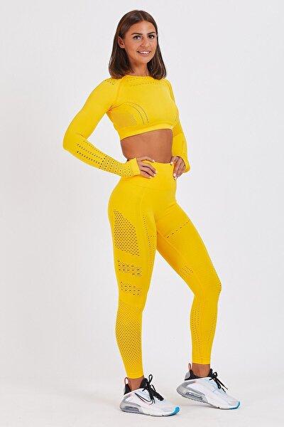 Kadın Sarı Dikişsiz Spor Tayt