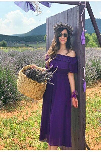 Carmen Yaka Şifon Elbise