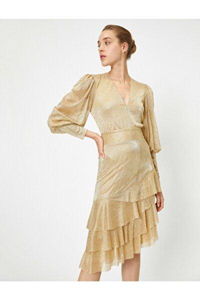 Kadın Asimetrik Uzun Kollu Parlak Elbise Abiye