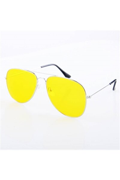 Unisex Sarı Metal Çerçeve Gece Sürüş ve Sis Gözlüğü 422550av