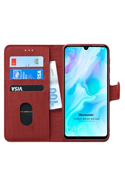 P30 Lite Kılıf, Microsonic Fabric Book Wallet