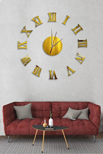 Dekoliagöbek Duvar Saati Büyük Ahşap Romen Rakamlı Art1133