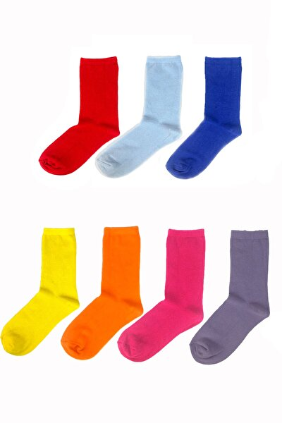 Soket Çorap Düz Renk 7'li Set