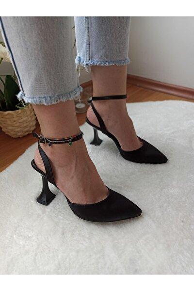 Kadın Siyah Saten Abiye Ayakkabı