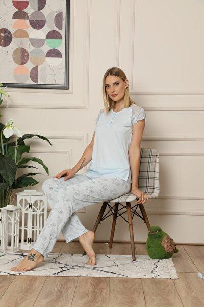 Kadın Mavi Dantel Detaylı Çeyizlik 3'lü Sabahlıklı Kısa Kol Pijama Takımı