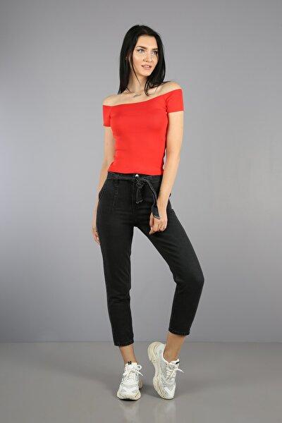 Kadın Koyu Antrasit Beli Bağlamalı Yüksek Bel Mom Jeans