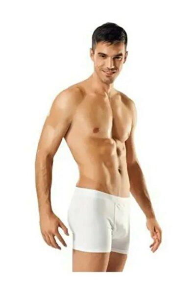 Erkek Beyaz Likralı Elastan Boxer Renk 5'li Paket