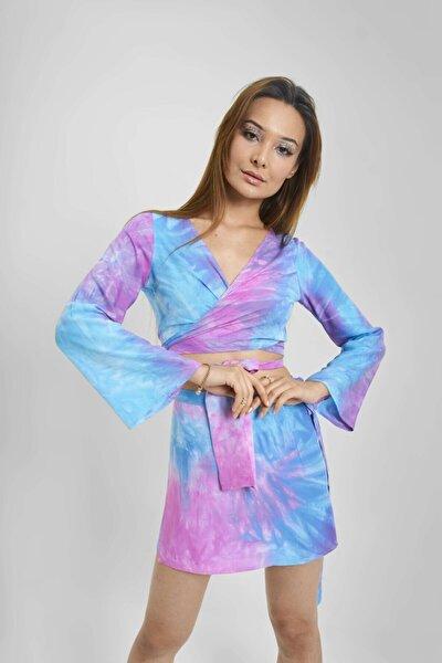 Kadın Pembe Mavi Alıce Bağlamalı Bluz