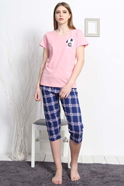 Kadın Kısa Kol Normal Beden Suprem Kaprili Pijama Takım