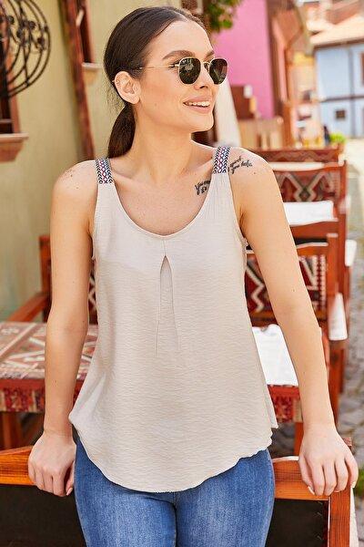 Kadın Bej Etnik Askılı Bluz Arm-20Y001041