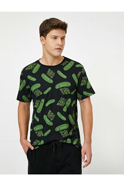 Erkek Siyah Rick And Morty Lisansli Baskili T-Shirt
