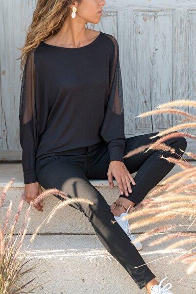 Tül Kol Detaylı Uzun Kollu Siyah Kadın Bluz