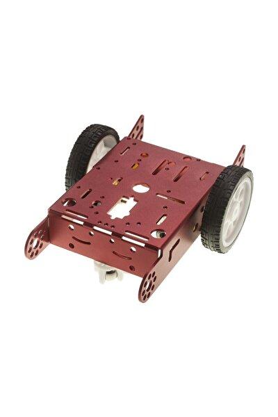 2wd Mbot Alüminyum Araç Kiti - Kırmızı (motor Ve Tekerlek Dahil)