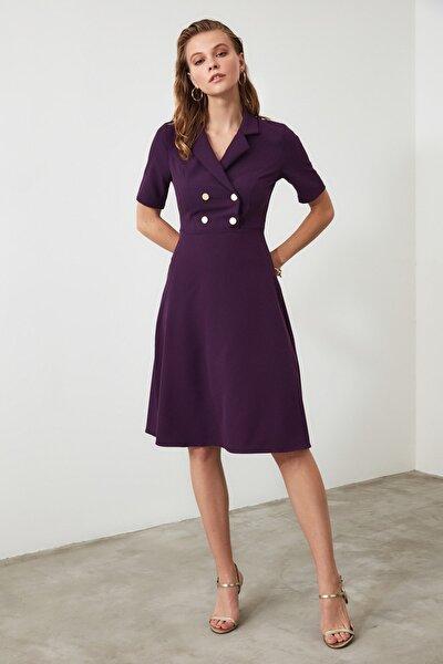 Mürdüm Düğme Detaylı Elbise TWOAW20EL0063