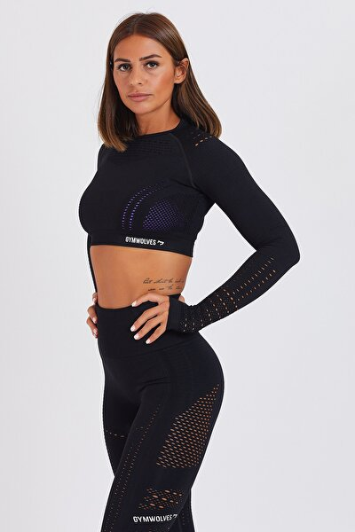 Kadın Uzun Kollu Dikişsiz Spor Tişört - Siyah - Crop Tops - Aktif Power Serisi
