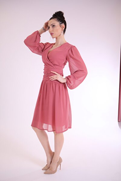 Bel Detaylı Şifon Elbise Pudra