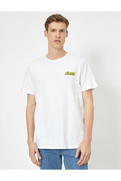 Erkek Beyaz Flash Lisansli Baskili T-shirt