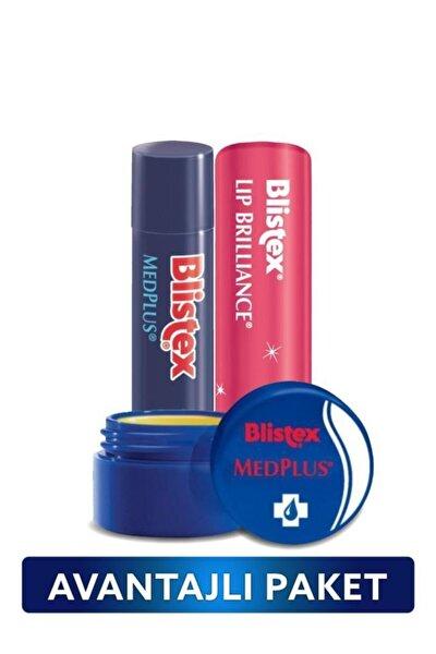 Kuruyan Dudaklara Medplus Kavanoz + Medplus Stick + Renk ve Işıltı Etkili Lip Brilliance