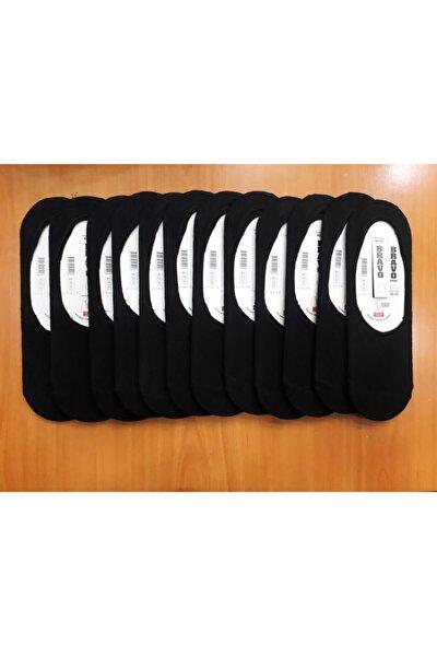 Erkek  Siyah 12 Çift Pamuklu Topuğu Silikonlu Düz Babet