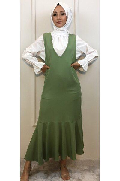 Kadın Yeşil Volanlı Jile Elbise