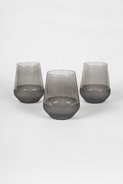 Matte 3'lü Su Bardağı Seti Füme 425 cc