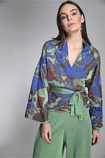 Çiçekli Kemerli Triko Ceket-yeşil