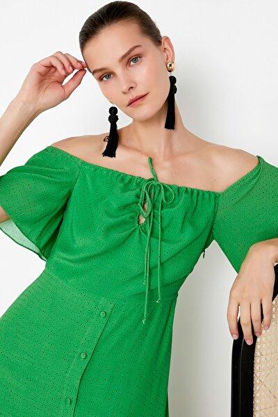 Kadın Yeşil Puantiye Desen Elbise IS1200002421070