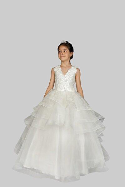 Kız Çocuk Beyaz Tül Elbise