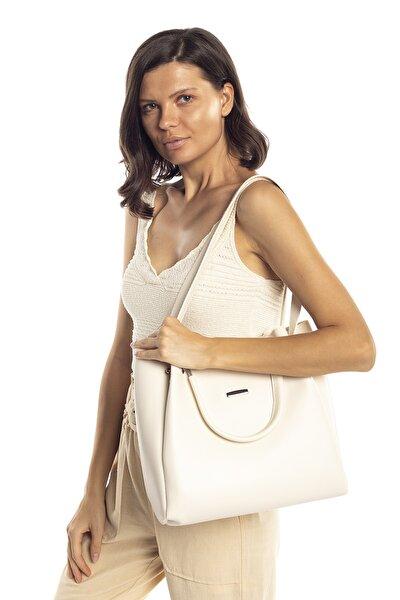 Krem Kadın Halterli Çanta
