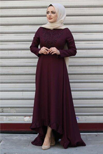 Kadın Fırfırlı Dantelli Tesettür Elbise Mürdüm