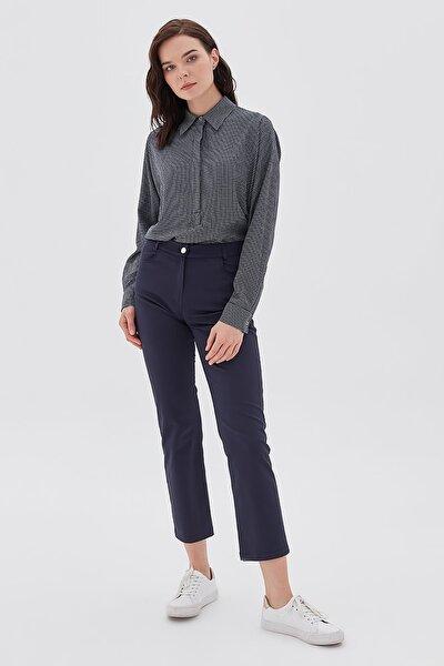 Kadın Lacivert Boru Paça Kanvas Pantolon B20 19217