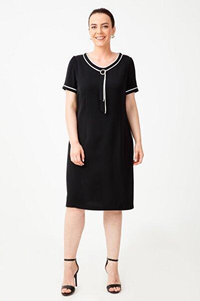 Kadın Siyah Kravatlı Kısa Kollu Elbise