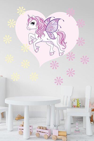 Çocuk Odası Kalp İçindeki Sevimli Unicorn ve Çiçekler Dekoratif Sticker