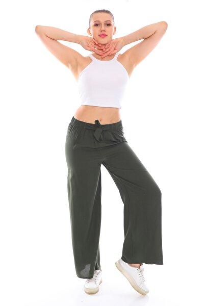 Beli Lastikli Bol Paça Haki Cotton Pantolon
