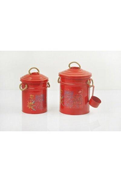 Kırmızı Renk Ölçekli 2li Galvaniz Bulaşık Deterjan Kutusu