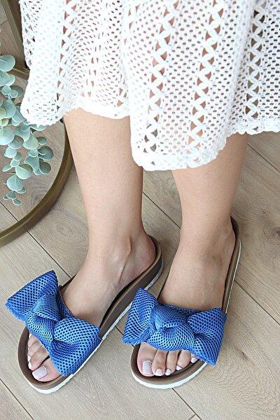 Kadın Mavi Fiyonk Detaylı Sandalet