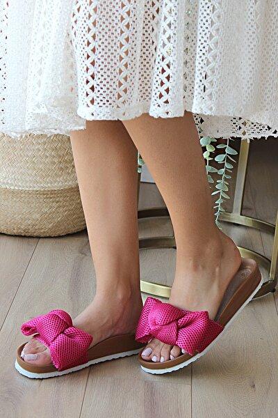 Kadın Fuşya Suni Deri Sandalet