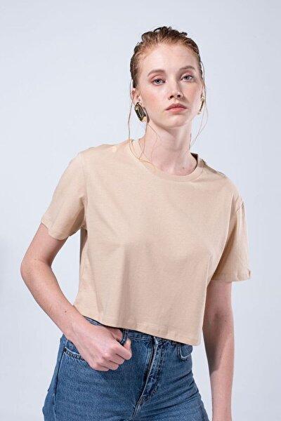 Kadın Kahverengi Boyfriend Crop Tişört